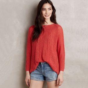 Anthro Rosie Neira Solana Linen Knit Sweater Red S